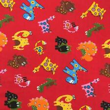 "Printed poly cotton Red Dinosaurs 115cm 45"" wide sold by metre"