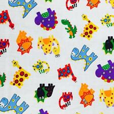 "Printed poly cotton White Dinosaurs 115cm 45"" wide sold by metre"