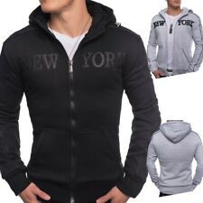 Hommes transition veste sweat à capuche capuche doublée de New York Gris Noir