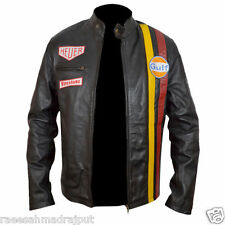 Steve McQueen le Man Classic Gulf Racers leather jacket