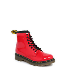 Dr Martens Infant Kids Boots Delaney Red Patent Leather LaceUp Ankle Shoes