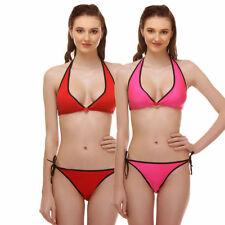 Aruba Hottie - Kool Halter Bra & Panty Set - Red & Pink - S3057C (Pack of Two)