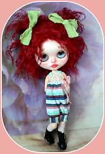 Blythe doll tibetan lamb fur wig* deep red colour** waved* cute*