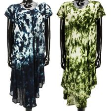 HIPPIE TIE DYE DRESS LOOSE FITTING SHORT SLEEVE SUMMER BEACH COVER UP