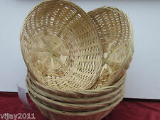 "40 x 8"" (20 cm ) Natural Wicker Round Hamper Bread Fruit Gift Bamboo Baskets"