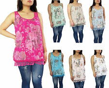 New Woman Italian Lagenlook Quirky Lace Back Summer Sleeveless Floral Vest Top