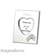 Heart Photo Frame & FOX TERRIER DOG - Sterling Silver & personalised engraving