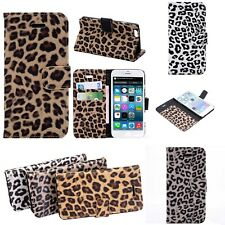 Animal Leopard Print Pattern Case Wallet Apple iPhone 7 4 4S 5 5S SE 6 S 6 Plus