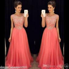 Long Beaded Wedding Bridesmaid Evening Dresses Jewel Formal Party Ball Prom Gown