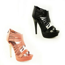 WOMENS LADIES PLATFORM GLADIATORS HIGH STILETTO HEELS SANDALS SHOES SIZE 3-7