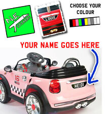 BACK ONLY personalised number plate for kids' electric MINI Cooper car ride on