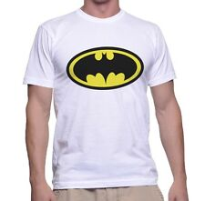 White Printed SuperHero T-Shirt Batman For Men Polyester