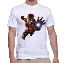 White Printed SuperHero T-Shirt Iron Man For Men Polyester