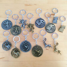 Game of Thrones keyring / keychain: Stark Lannister Targaryen Baratheon sigil