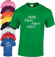 Here Fishy Fishy Fishy Children's T Shirt Kid's Funny Fishing Tee Xmas Gift Top