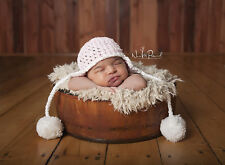 Hand Crochet Knitted Baby Hat Chunky Photo Prop Girl Pom Poms Newborn- 12M