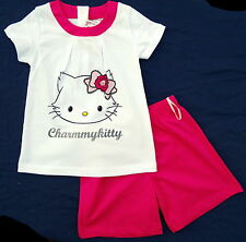 Neu! Charmmy Kitty Shorty 2-teiliges Set T-Shirt und Shorts Glitzer Gr.80 86 92
