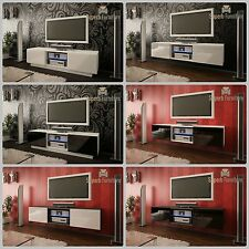Superb TV Stand Unit Cabinet 140cm + Floating or Standing + Gloss + LED