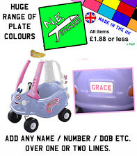 Personalised Number Plate for FAIRY Little Tikes Cozy Coupe kids ride on toy car