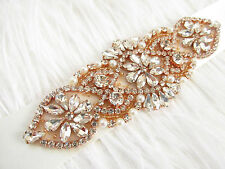 ROSE GOLD crystal sash belt with ivory pearls SALE Crystal Ivory Pearl Bridal
