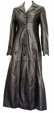 LOPEZ  GIRLS LADIES DESIGNER STYLE GOTHIC BLACK SOFT  LEATHER LONG COAT JACKET