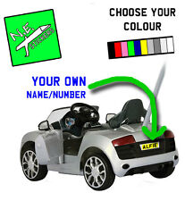 BACK REAR Personalised Number Plate fits kids' Audi R8 pushbuggy ride-on toy car