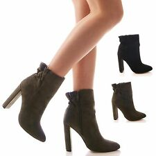 LADIES WOMENS ANKLE BOOTS FAUX SUEDE HIGH HEEL FORMAL ELASTIC BACK SHOES SIZE