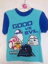 BNWT Angry/Star Wars Boys Pyjamas/Sleepware. T-Shirt & Shorts. Age 6-13 Years