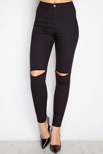 Ladies High Waisted Skinny Ripped Tube Stretch Joni Pencil Jeans Jeggings UK6-16