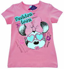 NEU! Disney Minnie Mouse Stretch T-Shirt Shirt Top Glitzer rosa 128 140 152 164