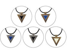 Bijoux Fashion Vintage Jewelry Gold Chain Triangle Statement Necklace Leather