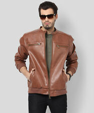 Yepme Henry PU Leather Jacket - Brown (YPMJACKT0291)