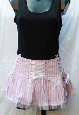 Hell Bunny pink and white striped 'Laura' summer mini skirt