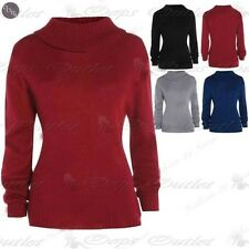 Mujer Knittted Tortuga Cuello Vuelto Liso Elástico Polo Suéter Top