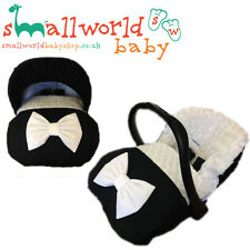 Personalised Black And Fur/Fleece Car Seat Footmuff Cosytoes With Hood