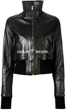 Ladies Women's Black Short Cropped Biker Lamb Sheep Soft Nappa Leather Jacket