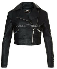 Ladies Women's Black Short Cropped Biker 100% Real Lamb-Sheepskin Leather Jacket