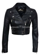 Ladies Women's Black Short Cropped Biker Lamb-Sheep Nappa Leather Jacket