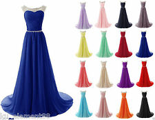 Bead Long Chiffon Evening Formal Party Ball Gown Prom Bridesmaid Dress Size 6-24
