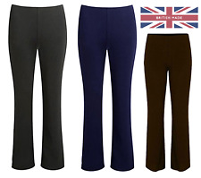 Ladies Womens Bootleg Trousers Bootcut Stretch Finely Ribbed Work Bottoms NEW UK