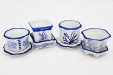 Dollhouse Miniature Set of 4 Blue & White Ceramic Flower Pots with Saucers