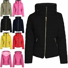 Ladies Womens Padded Quilted Puffer Bubble Hood Fur Collar Warm Jacket Coat S-XL