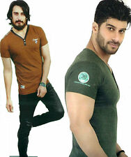 #biowash V Neck T shirt half sleeve L size Brown green cotton branded slim fit