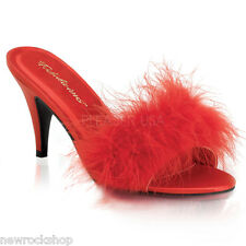 Fabulicious Amour- 03 Red Fur Classic Marabou Slippers Kitten Heel Sandals