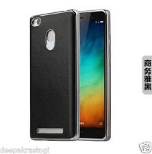LUXURY CHROME BUMPER WITH PU LEATHER BACK CASE COVER FOR XIAOMI REDMI 3S PRIME