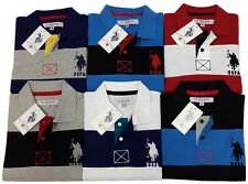 U.S.Polo Men's Solid Striped Slim fit Classic Polo T-shirt