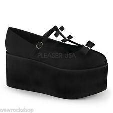 Demonia Click-08 Ladies Black Canvas T-Strap Studded Platform Mary Jane Shoes