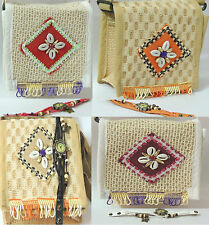 Small sling bag ethnic traditional Jute bag vintage style ladies watch combo