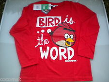 MAGNIFIQUE TEE SHIRT ANGRY BIRDS MANCHE LONGUE ROUGE 4 ANS & 6 ANS *NEUF*
