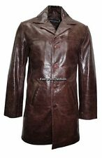 Men 4 Buttons 3476 CLASSIC BLAZER brown COWHIDE GLAZE Knee Length Leather Jacket